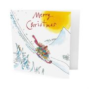 Pack of 10 Quentin Blake Alzheimer's Society Charity Christmas Cards - Kids on Sledge